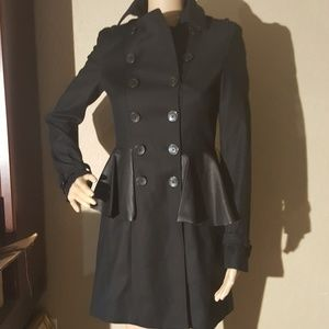 Zara Woman Double-Breasted Black Coat Size XS